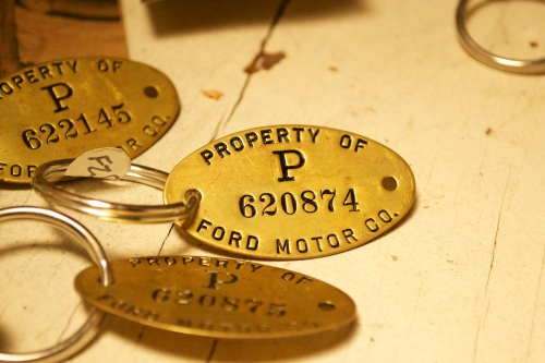 Actual brass tags from Ford Motor Co.  Perfect for anyone driving a Ford.